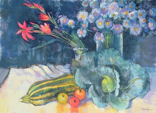 cuadros-de-bodegones - Cuadro - Still Life with Fruit and Flowers (mixed media) - - Spencer, Claire