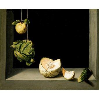 - Cuadro -Bodegón con membrillo, repollo, melón y pepino - - Cotan, Juan Sanchez