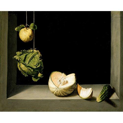 Cuadro -Bodegón con membrillo, repollo, melón y pepino -