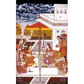 cuadros etnicos y oriente - Cuadro -Mujeres charlando en la terraza- - _Anónimo Persa