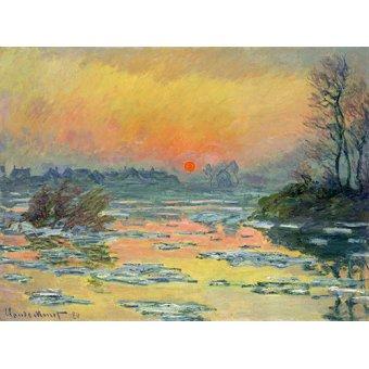 Cuadro -Coucher de soleil sur la seine en hiver lac-