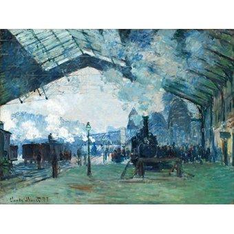 cuadros de flores - Cuadro -Arrivée du train de Normandie, Gare Saint-Lazare, 1877- - Monet, Claude