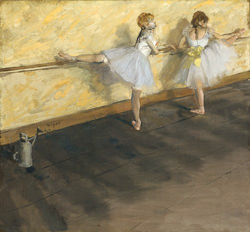 cuadros-de-retrato - Cuadro -Danseurs exerçant à la barre, 1877- - Degas, Edgar
