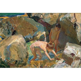 cuadros de marinas - Cuadro -Niños buscando crustaceos (Enfants à la recherche de crustacés)- - Sorolla, Joaquin