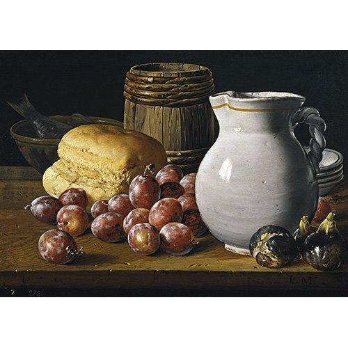 Cuadro - Bodegón con ciruelas, brevas, pan, y otros recipientes -