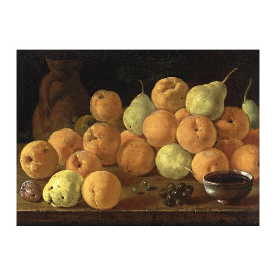 Cuadro - Bodegon con melocotones, peras y uvas -