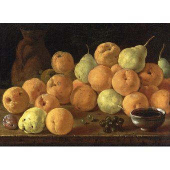 cuadros de bodegones - Cuadro - Bodegon con melocotones, peras y uvas - - Melendez, Luis