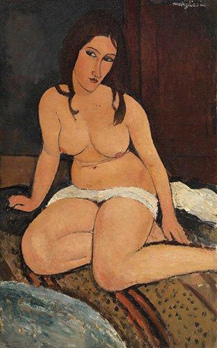 cuadros-de-desnudos - Cuadro - Nu assis (Desnudo sentado), 1917 - - Modigliani, Amedeo