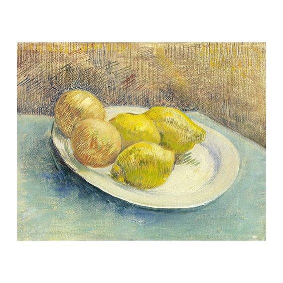 Cuadro -Bodegon con limones en un plato -