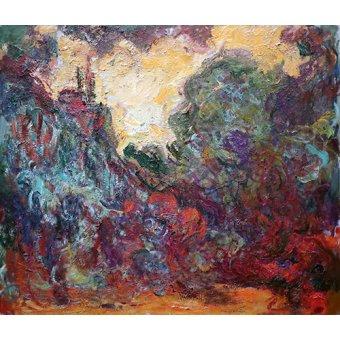 Cuadro -La casa del artista, vista desde el jardin de rosas- - Monet, Claude