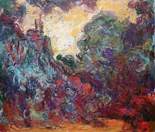 cuadros-para-salon - Cuadro -La casa del artista, vista desde el jardin de rosas- - Monet, Claude