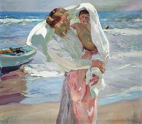 cuadros-de-retrato - Cuadro -Just Out of the Sea, 1915- - Sorolla, Joaquin