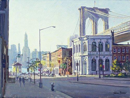 cuadros-modernos - Cuadro -Brooklyn Bridge, New York (oil on canvas)- - Barrow, Julian