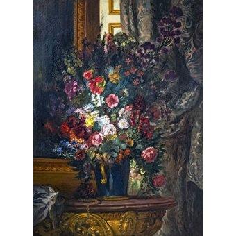 cuadros de flores - Cuadro -Flores en un jarrón azul- - Delacroix, Eugene