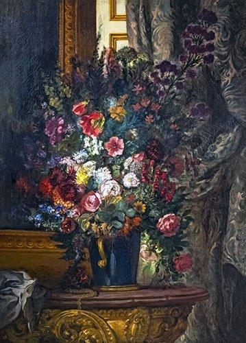 cuadros-de-flores - Cuadro -Flores en un jarrón azul- - Delacroix, Eugene