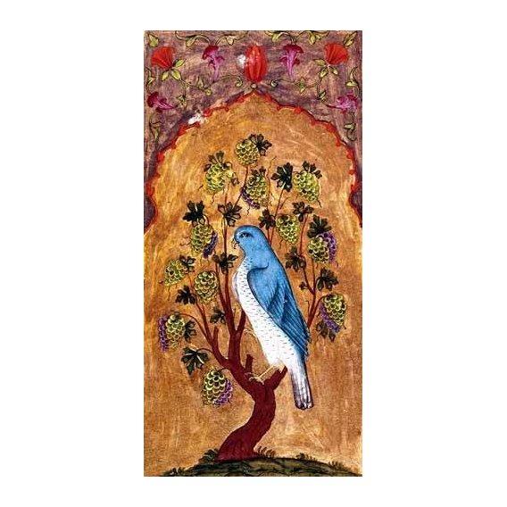 cuadros etnicos y oriente - Cuadro -Halcón azul sobre una rama-
