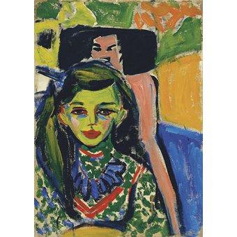 - Cuadro -Fränzi frente a una silla tallada- - Kirchner, Ernst Ludwig