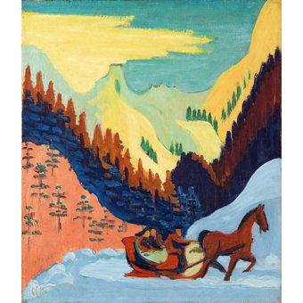- Cuadro -Paseo en trineo en la nieve- - Kirchner, Ernst Ludwig