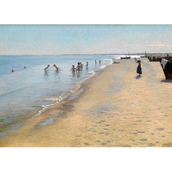 Cuadro -Summer Day at the South Beach of Skagen- - Kroyer, Peder Severin