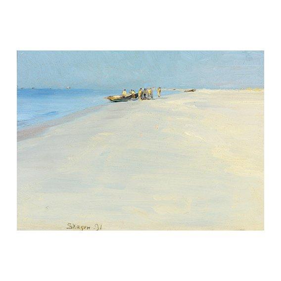 Cuadro - Fishermen on the beach at Skagen -