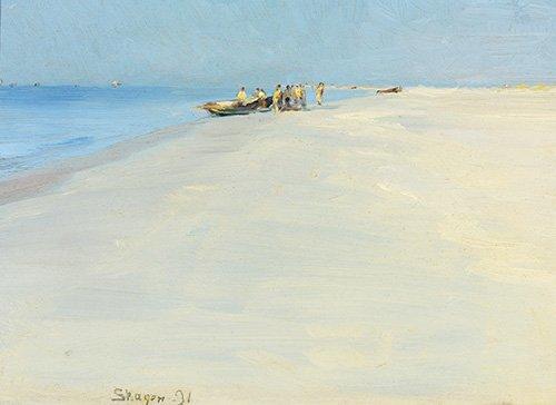 cuadros-de-marinas - Cuadro - Fishermen on the beach at Skagen - - Kroyer, Peder Severin