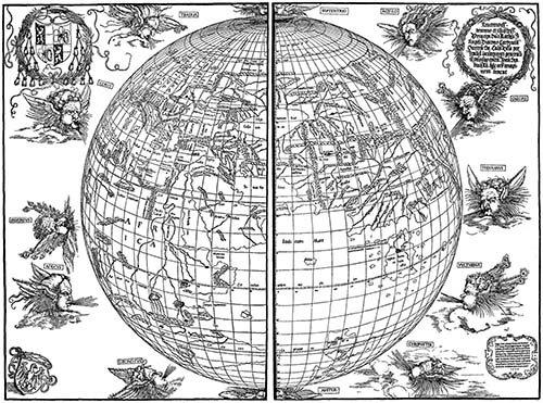 cuadros-de-mapas-grabados-y-acuarelas - Cuadro - Durer Woodcut map - Dürer, Albrecht (Albert Durer)