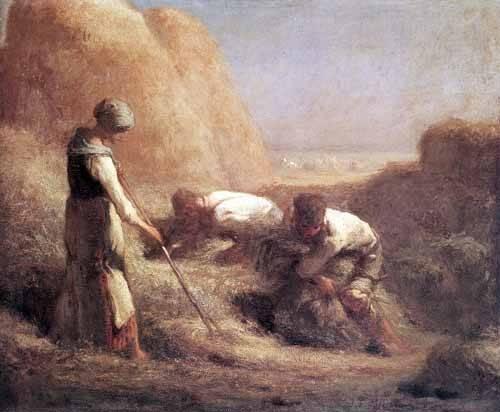 cuadros-de-paisajes - Cuadro -Les Batteleurs (1850)- - Millet, Jean François