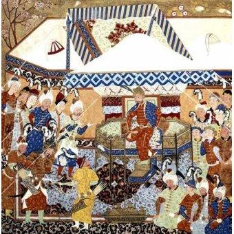 cuadros etnicos y oriente - Cuadro -La Corte Turco-Mongolia del Emperador Tamerlan- - _Anónimo Persa