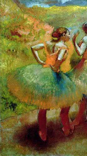 cuadros-de-retrato - Cuadro -Las bailarinas de las faldas verdes- - Degas, Edgar
