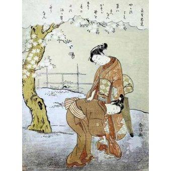 - Cuadro -Mujer y su doncella- - Harunobu, Suzuki