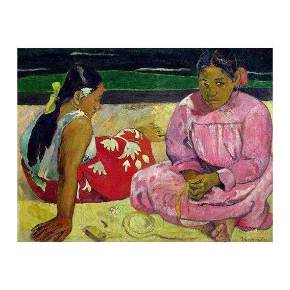 cuadros de retrato - Cuadro -Mujeres de Tahití en la playa-