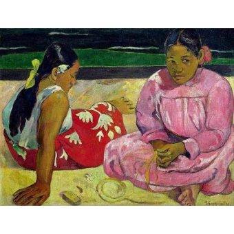 - Cuadro -Mujeres de Tahití en la playa- - Gauguin, Paul