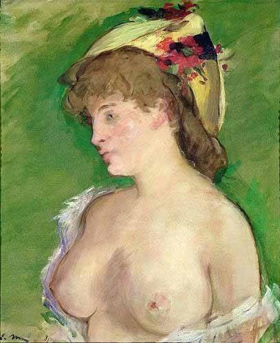 cuadros-de-retrato - Cuadro -The Blonde with Bare Breasts- - Manet, Eduard