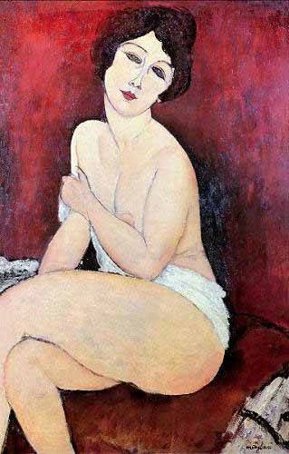 cuadros-de-retrato - Cuadro -Large Seated Nude- - Modigliani, Amedeo
