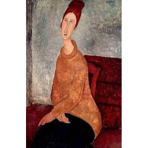 cuadros de retrato - Cuadro -Jeanne Hebuterne in a Yellow Jumper-