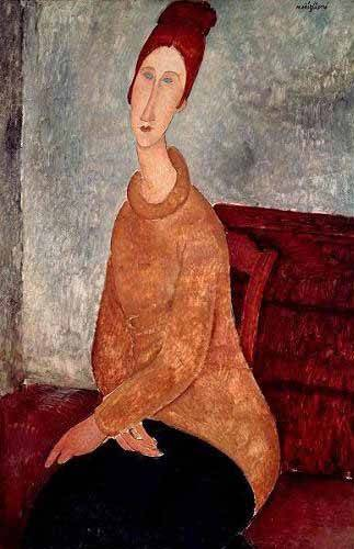 cuadros-de-retrato - Cuadro -Jeanne Hebuterne in a Yellow Jumper- - Modigliani, Amedeo