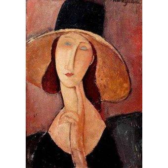 - Cuadro -Retrato de Jeanne Hebuterne con pamela- - Modigliani, Amedeo