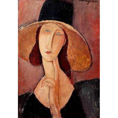 cuadros de retrato - Cuadro -Retrato de Jeanne Hebuterne con pamela-