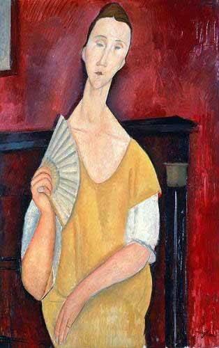 cuadros-de-retrato - Cuadro -Mujer con abanico- - Modigliani, Amedeo