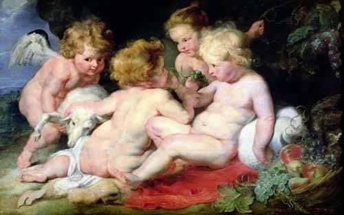 cuadros-de-retrato - Cuadro -El niño Cristo con Juan Bautista y dos ángeles- - Rubens, Peter Paulus