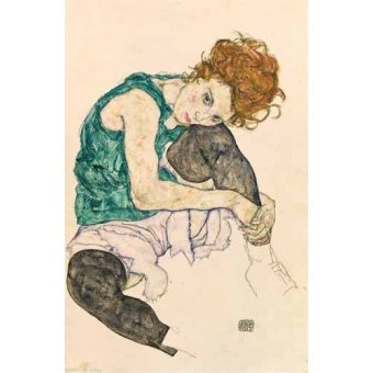 - Cuadro -Seated Woman with Bent Knee- - Schiele, Egon