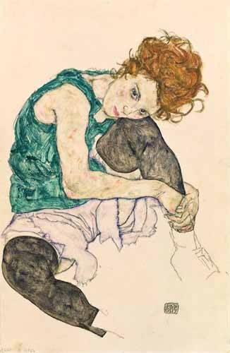 cuadros-de-retrato - Cuadro -Seated Woman with Bent Knee- - Schiele, Egon