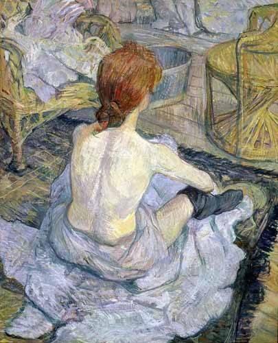 cuadros-de-retrato - Cuadro -Mujer en su baño- - Toulouse-Lautrec, Henri de