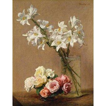 Cuadro -Rosas y Lilas-