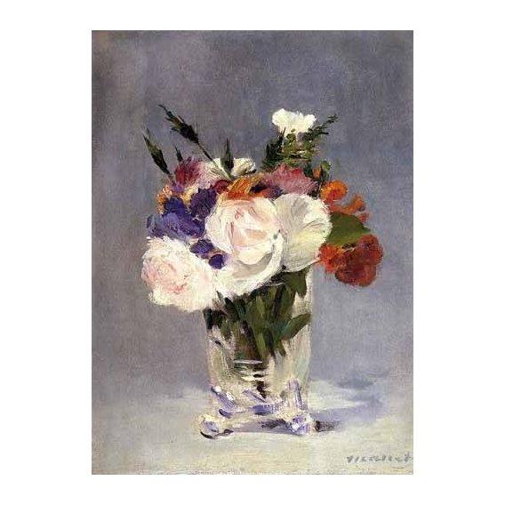 cuadros de flores - Cuadro -Flores en un jarrón de cristal-
