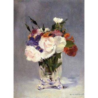 cuadros de flores - Cuadro -Flores en un jarrón de cristal- - Manet, Eduard