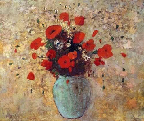 cuadros-de-flores - Cuadro -Jarrón de amapolas- - Redon, Odilon