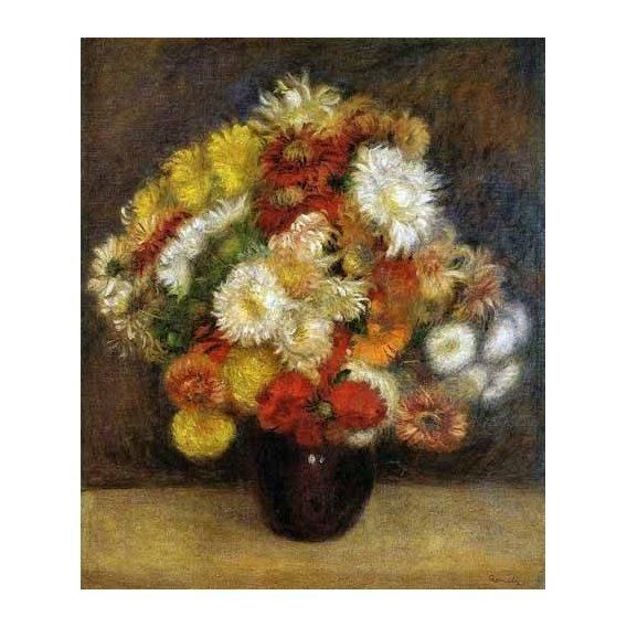 cuadros de flores - Cuadro -Ramo de Crisantemos-