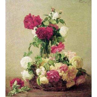 cuadros de flores - Cuadro -Rosas- - Fantin Latour, Henri