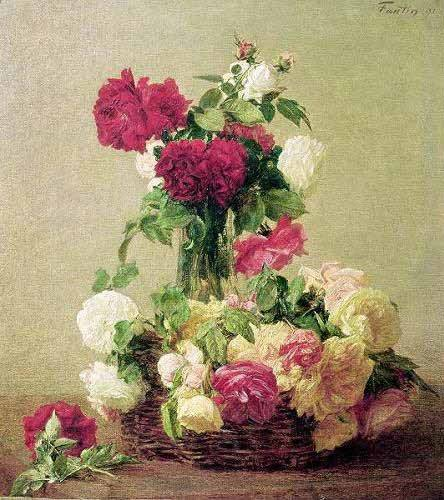 cuadros-de-flores - Cuadro -Rosas- - Fantin Latour, Henri